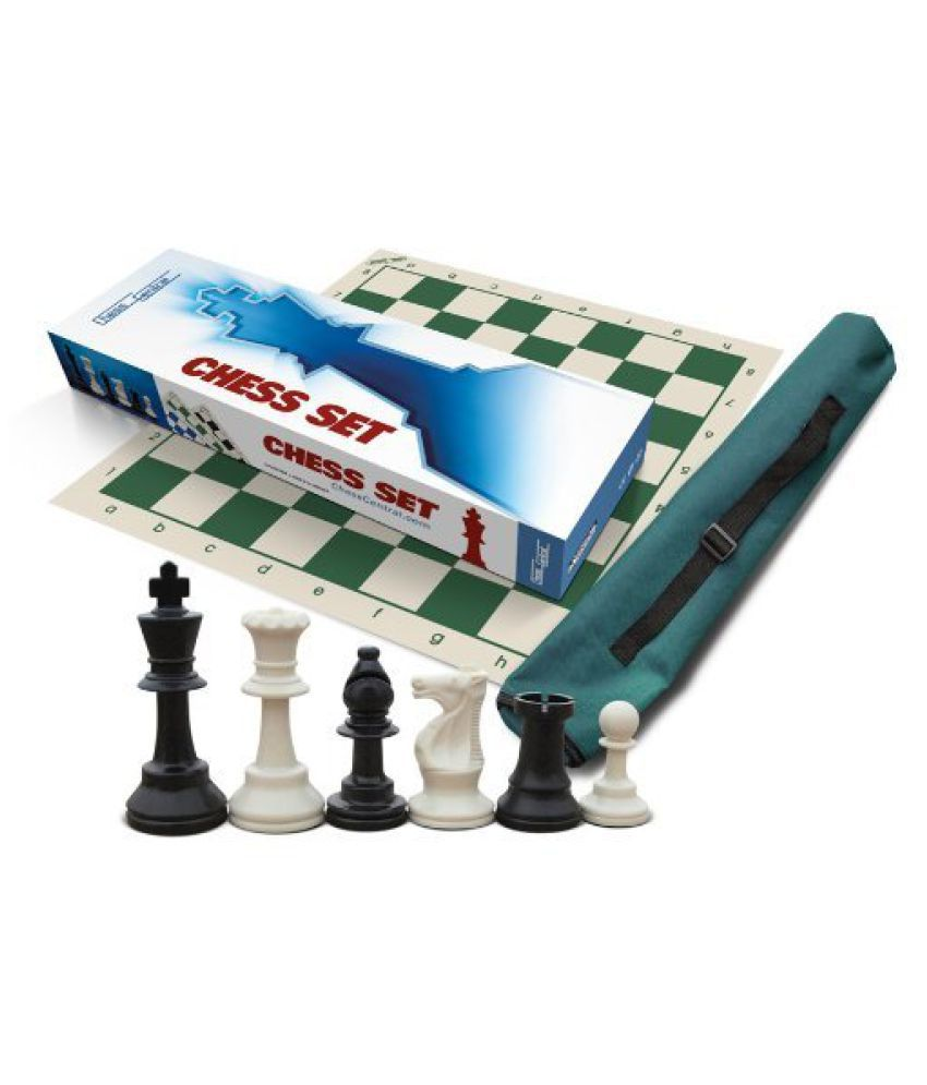 Premium Chess Set, Triple Weighted Chess Pieces (34 pieces-2 extra Queens), Green Roll-Up Board and