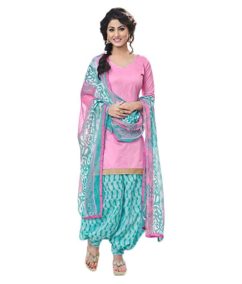 Women Latest Fancy Designer Salwar Suit Pink Cotton Dress Material
