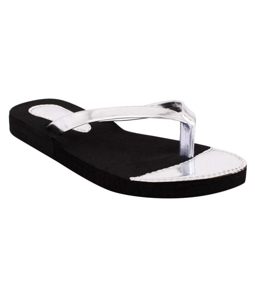 Shoez Hub Silver Slippers