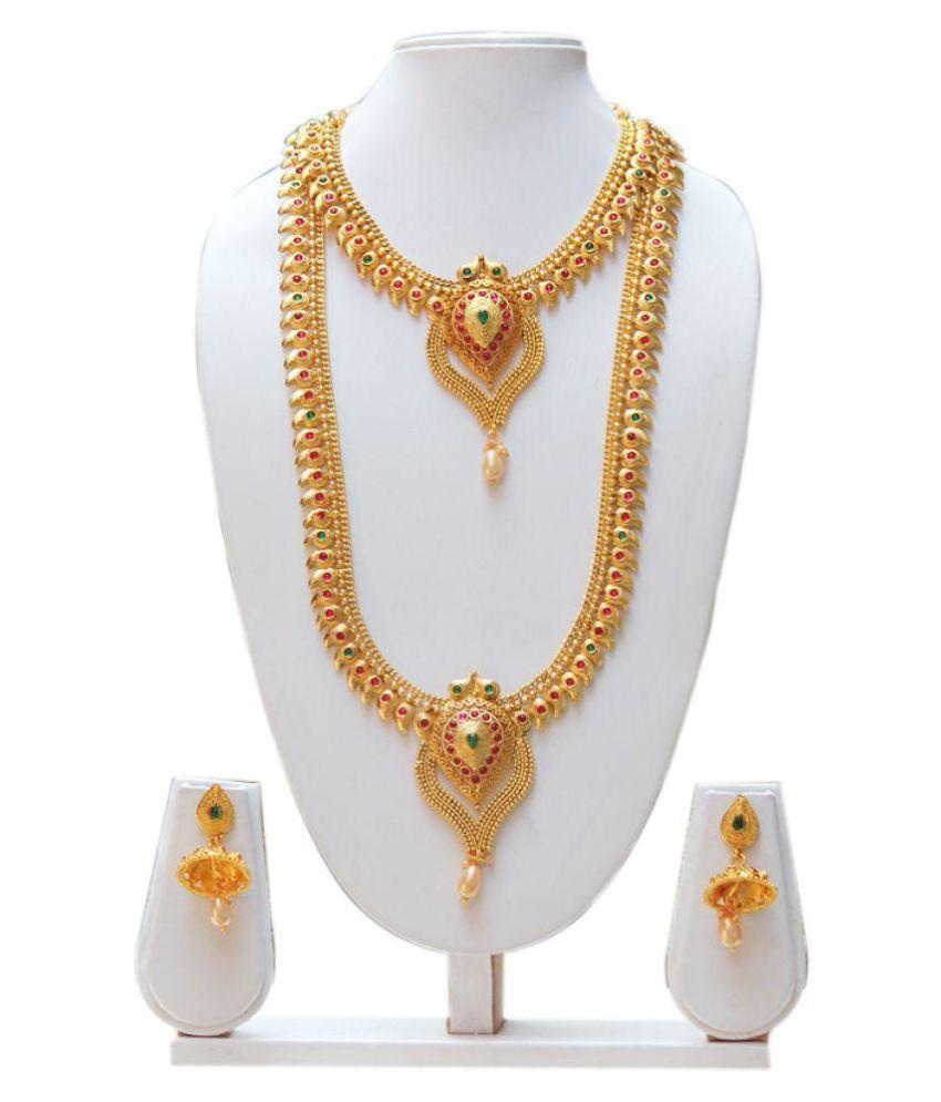Swaraj Golden Copper Haram Necklace Set