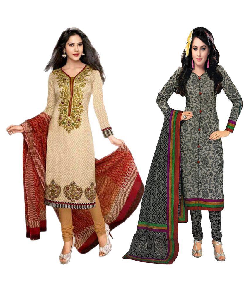 Chatri Fashions Multicoloured Cotton Dress Material