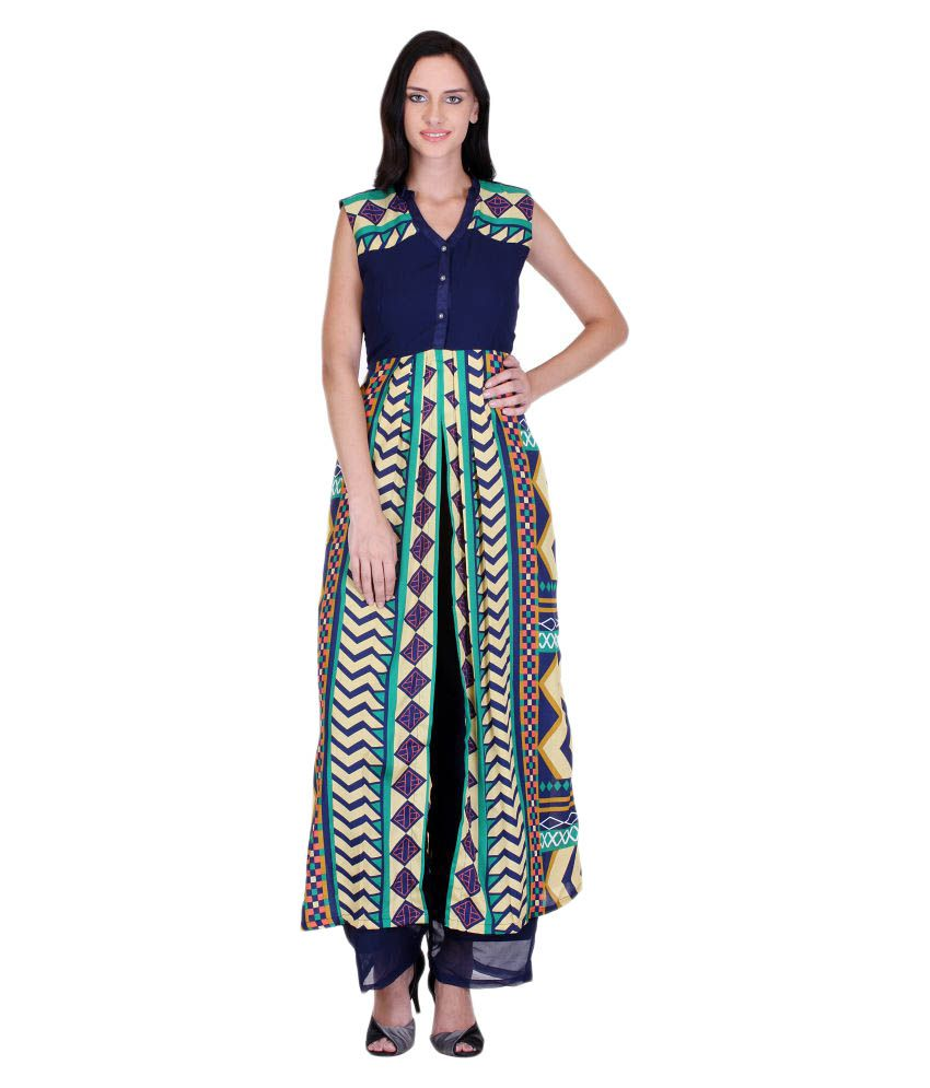 Goddess Women Multicoloured Crepe Straight Stitched Suit