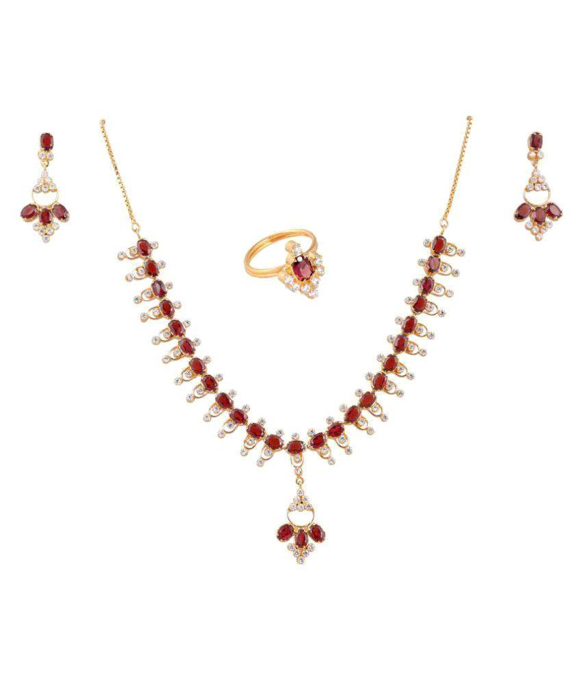 Vinayak Maroon Graceful Necklace Set (Garnet)