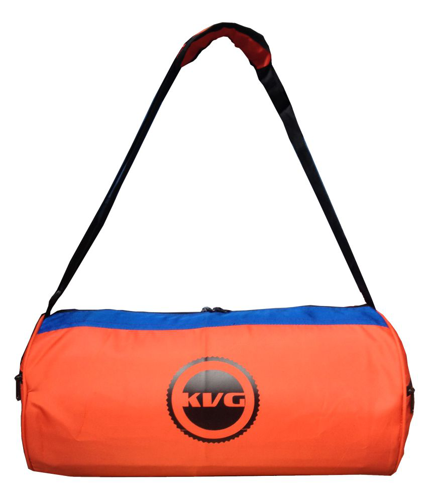 Kvg Orange Blue Medium Polyester Gym Bag