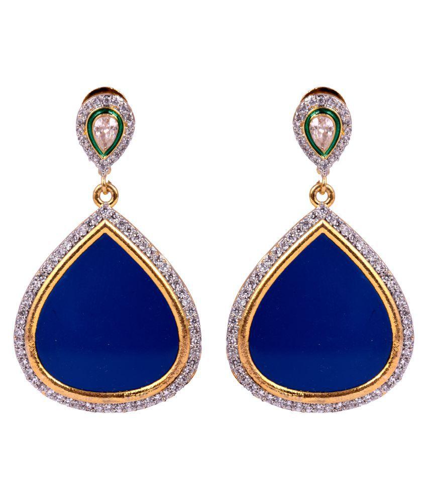 DLS Blue Brass Drop Earrings for Women