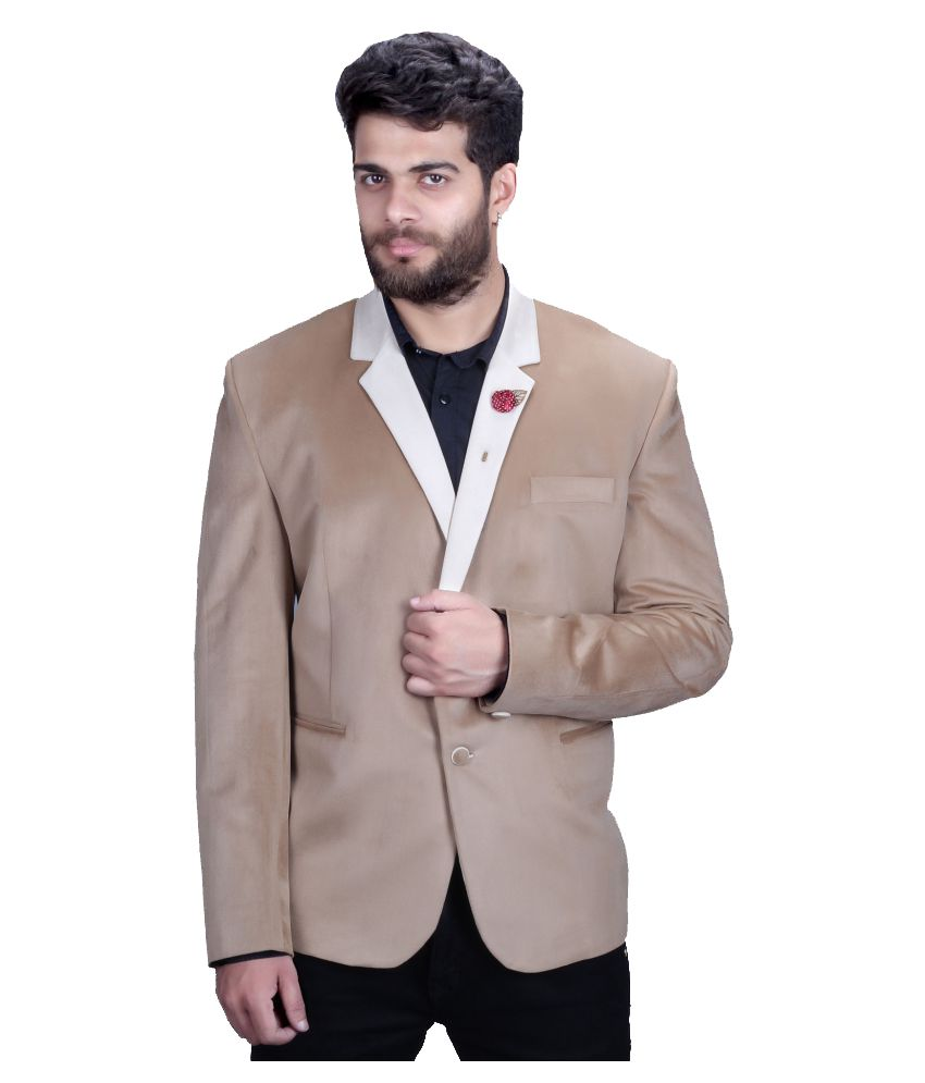 Mark Estilo Khaki Plain Party Blazers