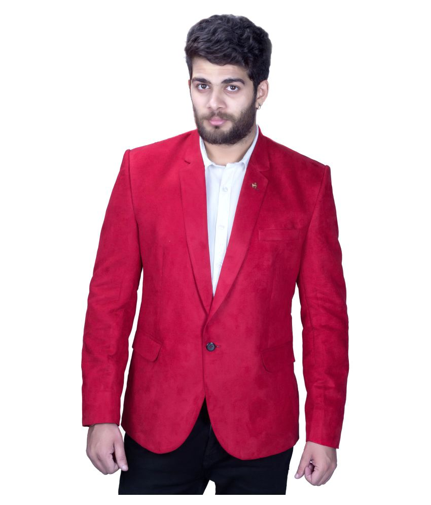 Mark Estilo Red Plain Party Blazers