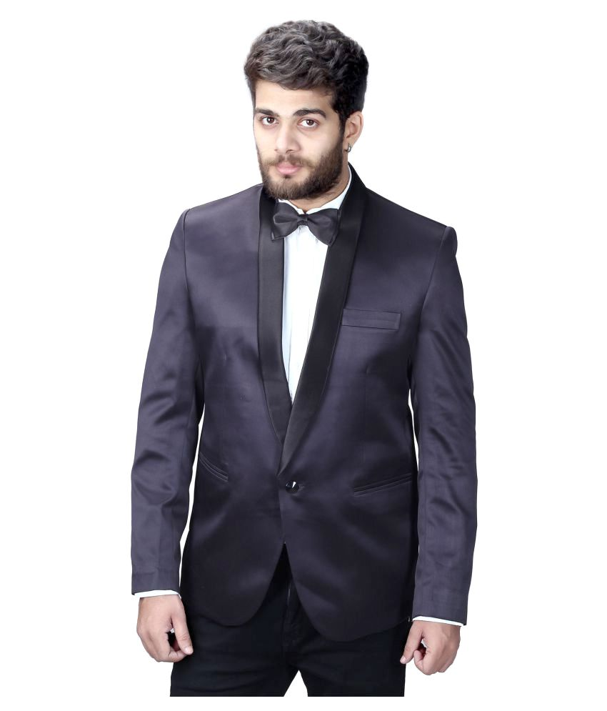 Mark Estilo Black Plain Party Blazers