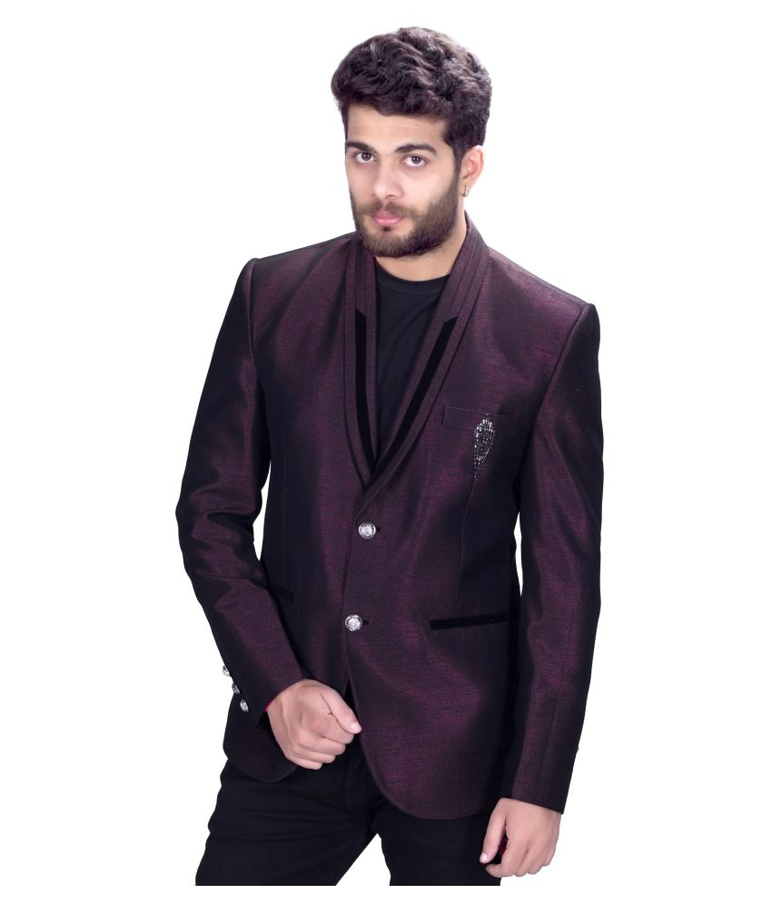 Mark Estilo Maroon Plain Party Blazers