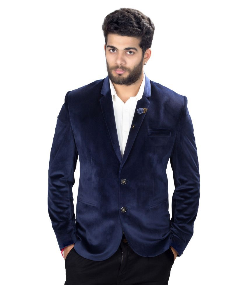 Mark Estilo Navy Plain Party Blazers