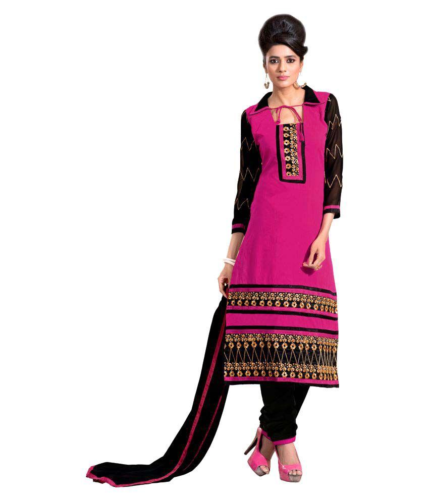 WalkNShop Pink Chanderi Dress Material