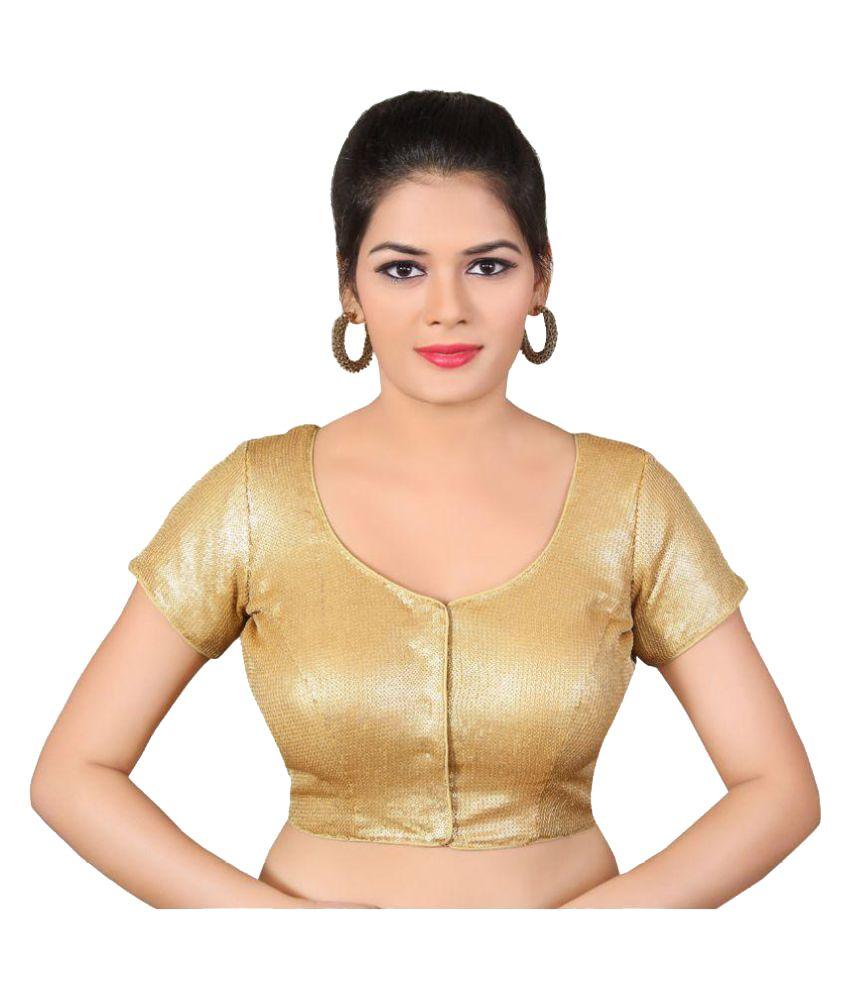 Atulya Designer Blouse Gold Round Shape Back Blouse