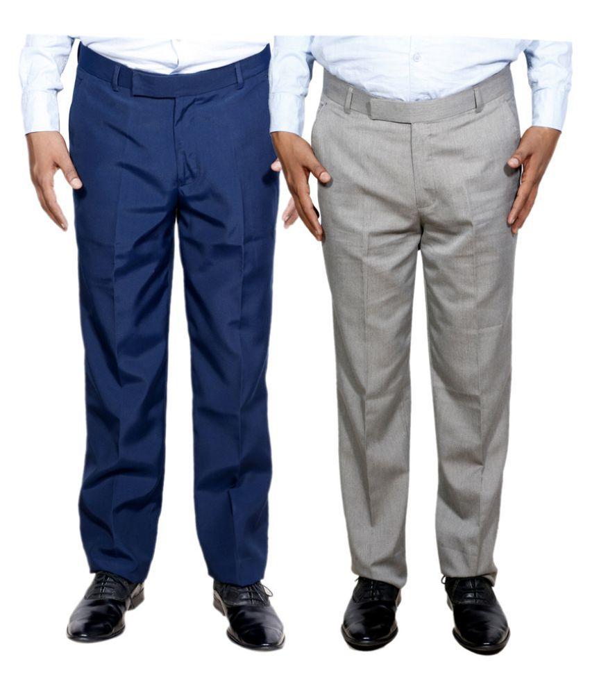 IndiWeaves Blue Regular Flat Trouser