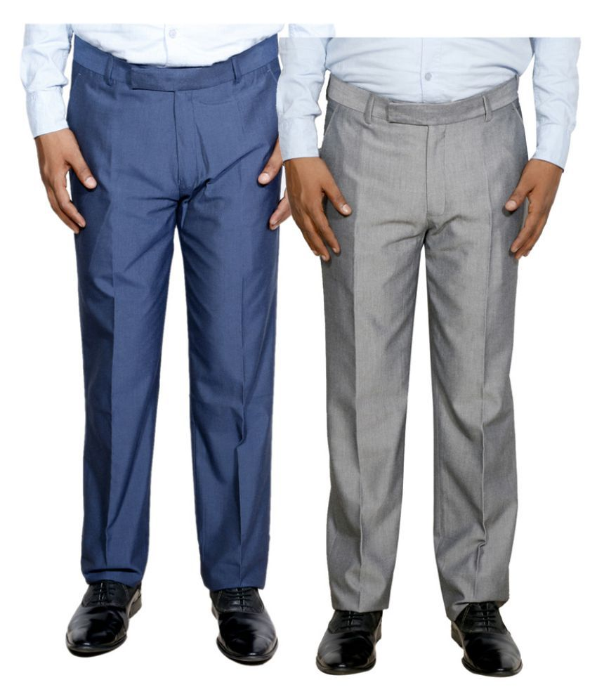 IndiWeaves Blue Regular Flat Trouser