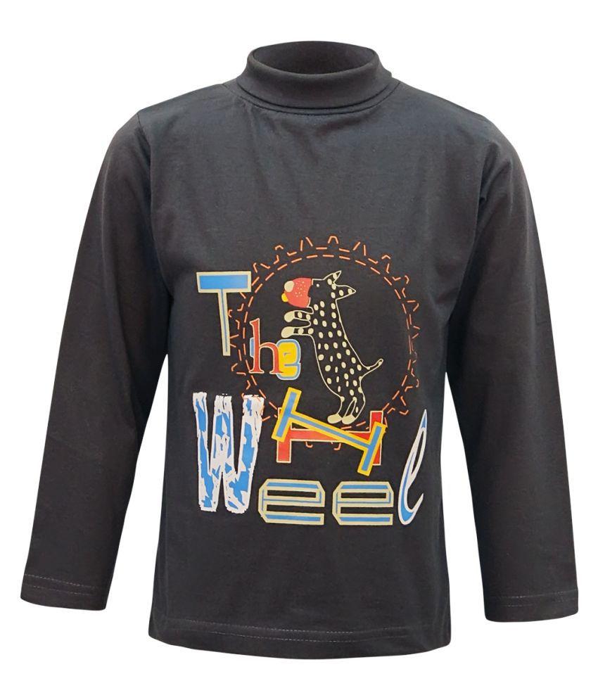 Kothari Gray Cotton boys high neck tshirt pack of 1