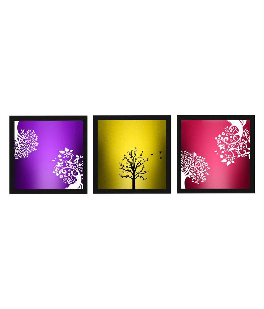 Craftsfest 3 colours Tree Abstract Paintings Wood Painting With Frame Set of 3