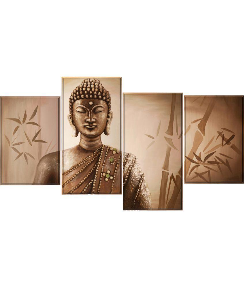 Craftsfest Vastu budha Canvas Painting Without Frame Set of 4
