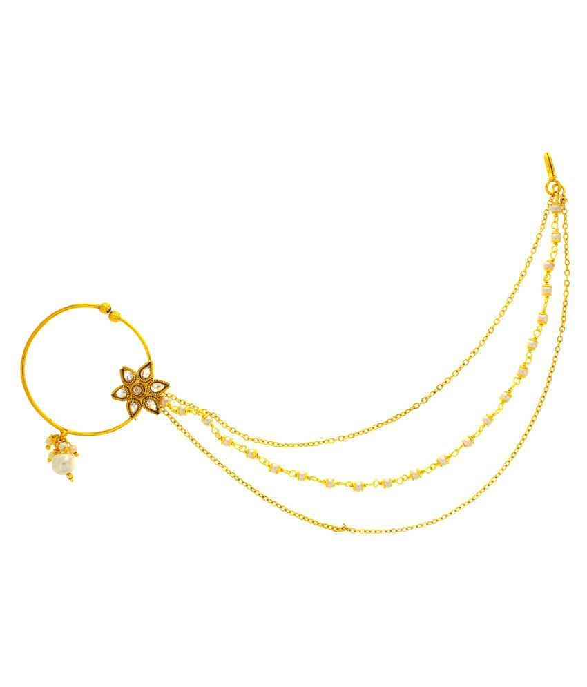 Anuradha Art Golden Colour Dulhan Nose Ring Nath