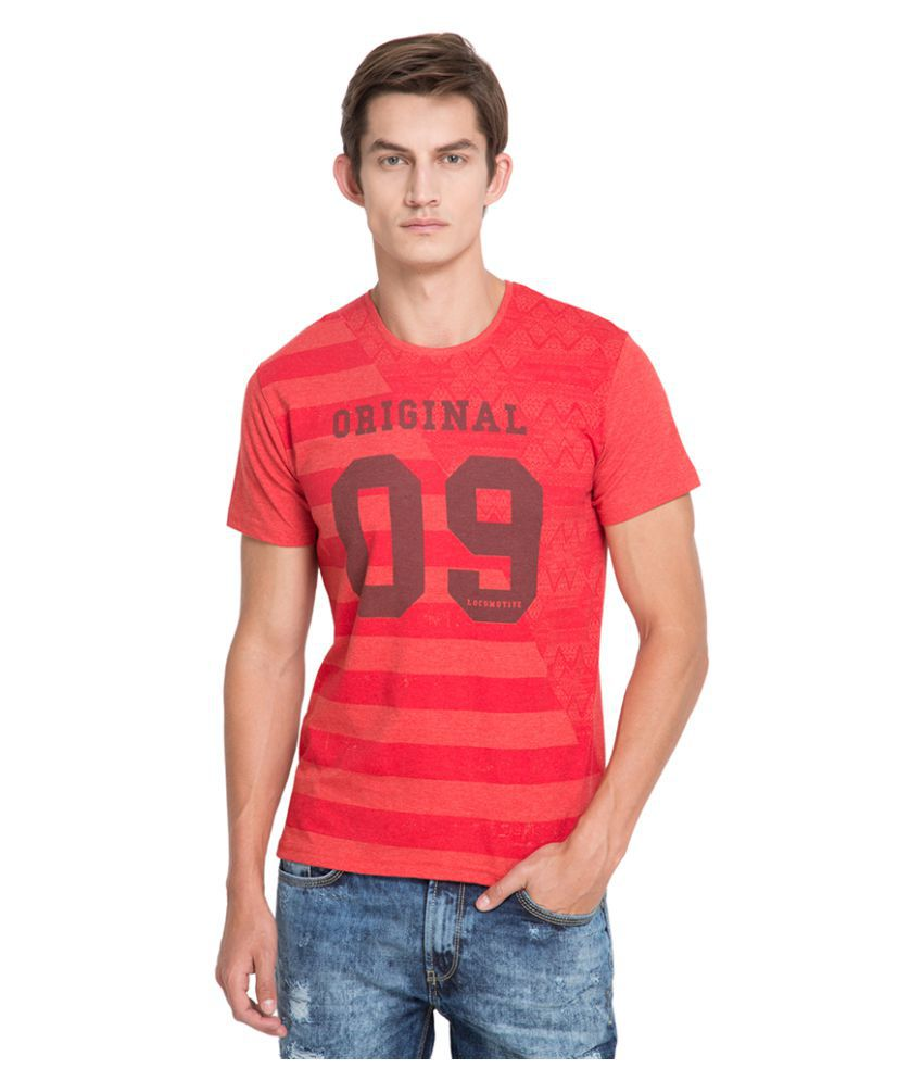 Locomotive Red Round T-Shirt