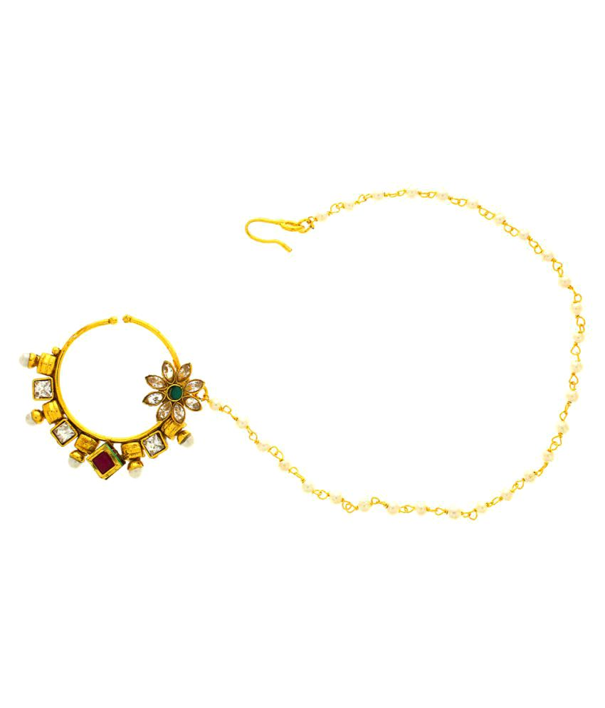 Anuradha Art Golden Colour Dulhan Nose Ring Nath