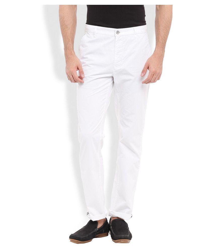 Parx White Slim Flat Trouser