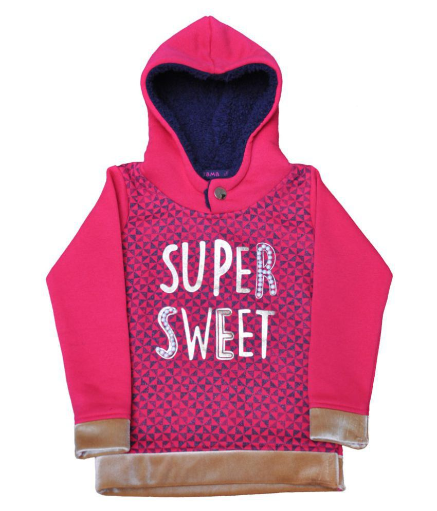 Ziama Pink Girls Printed Hooded Sweatshirt