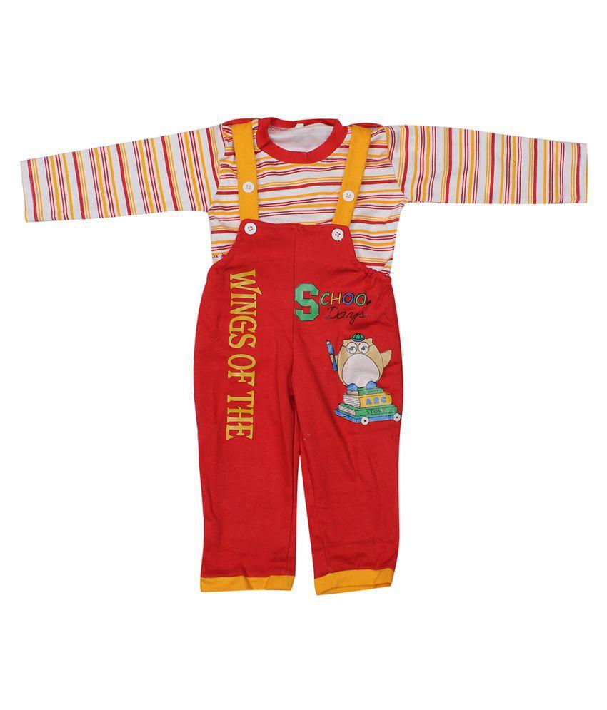 Babeezworld Multicolor Cotton Full Sleeve baby dungaree Set