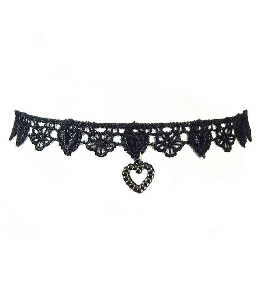 Freshvibes Black Choker with Heart Charm Pendant for Girls