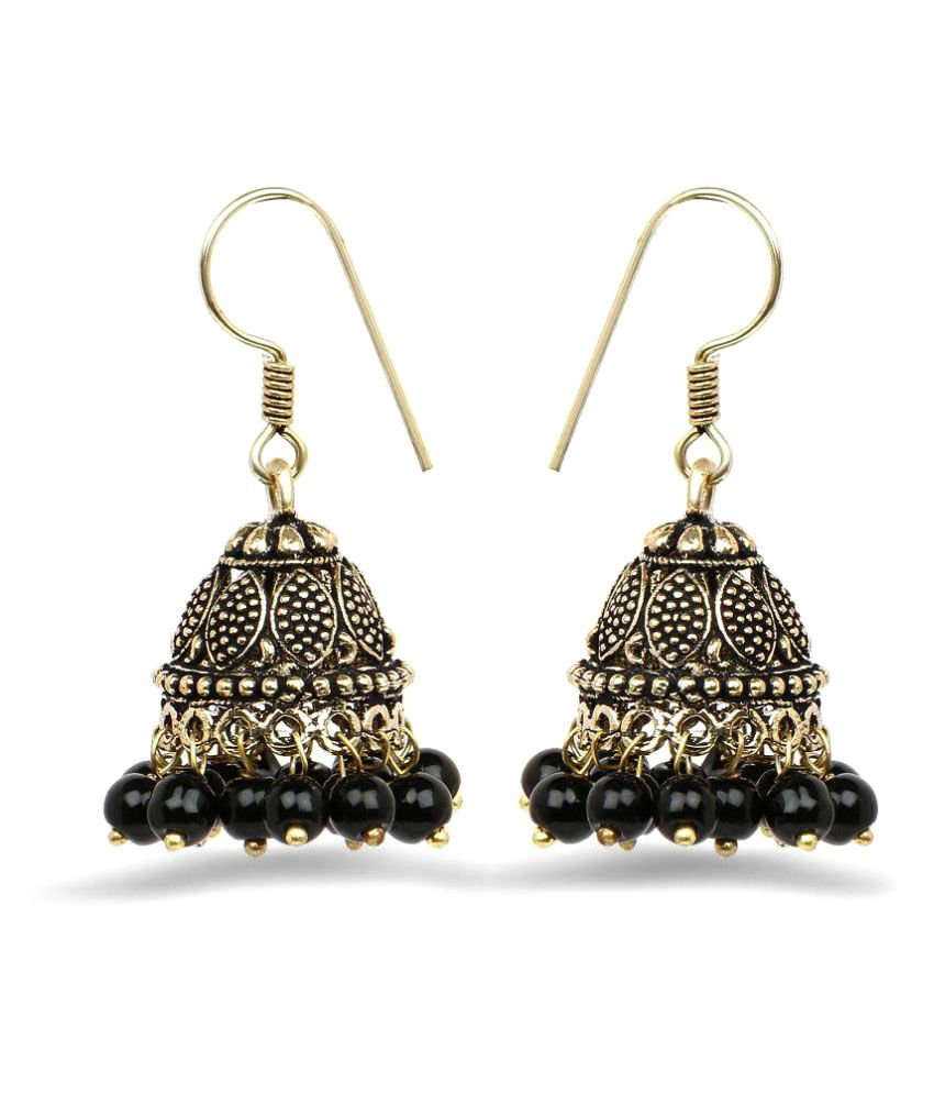 Johareez Golden Oxidised Jhumkis