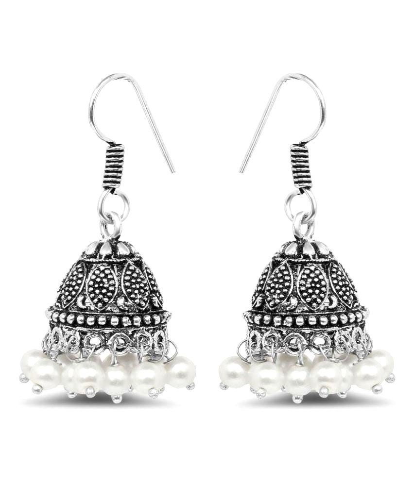 Johareez Silver Synthetic Pearl Oxidised Jhumkis