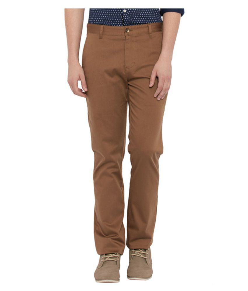 Parx Brown Tapered Flat Trouser