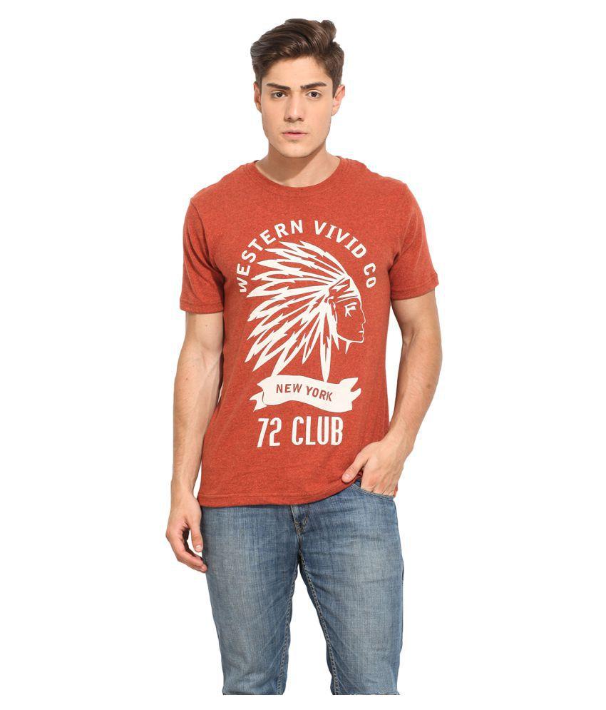 Western Vivid Red Round T-Shirt