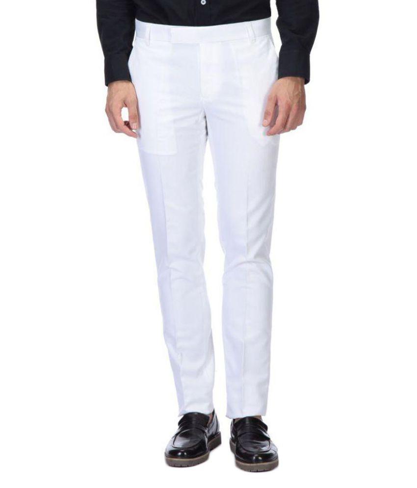 Febulous Off White Slim Flat Trouser