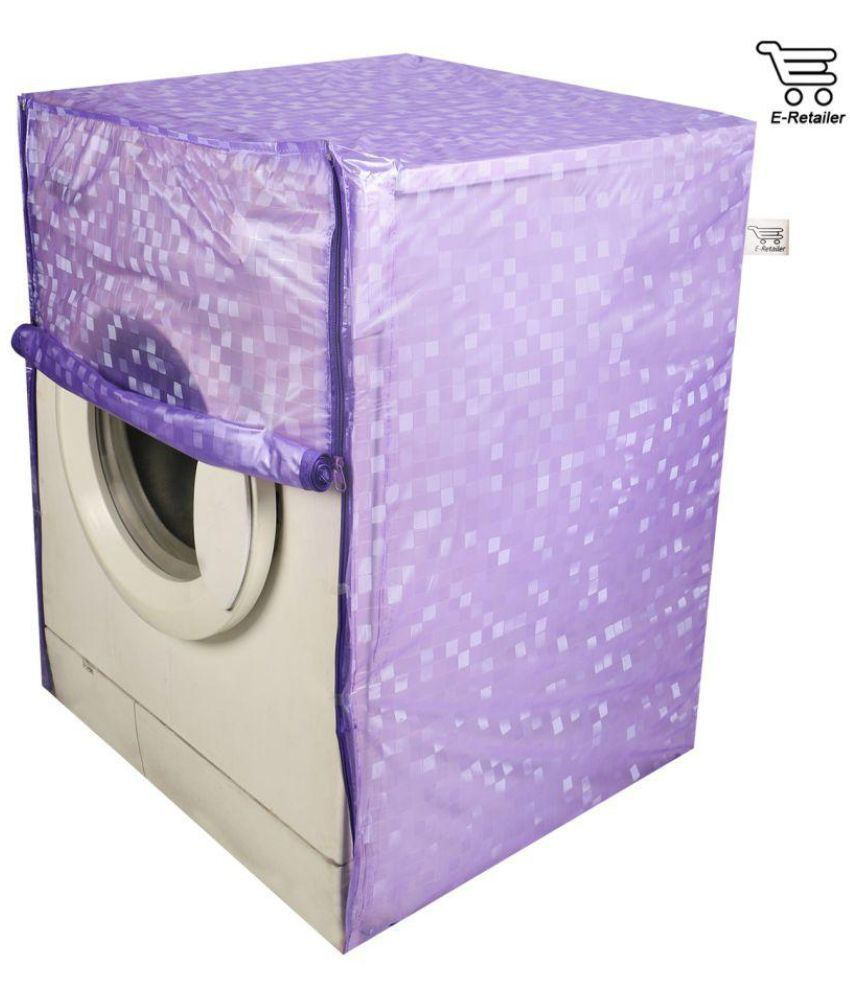 E Retailer Single PVC Purple Square Design Front Loading 5KG To 8KG Washing Machine Covers