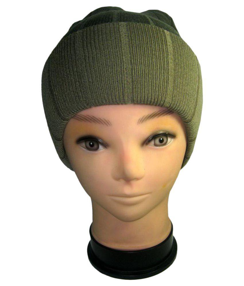 Goodluck Green Plain Wool Caps