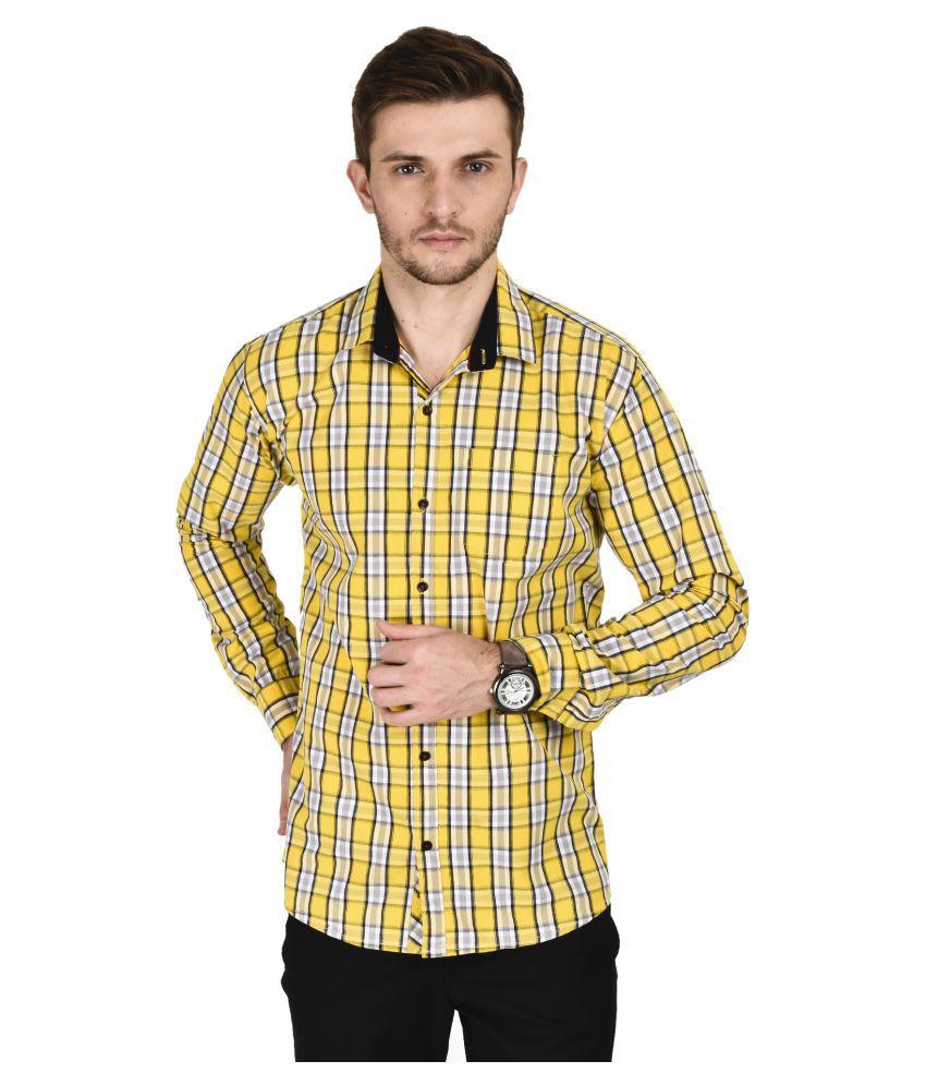Kayadeals Yellow Casuals Slim Fit Shirt
