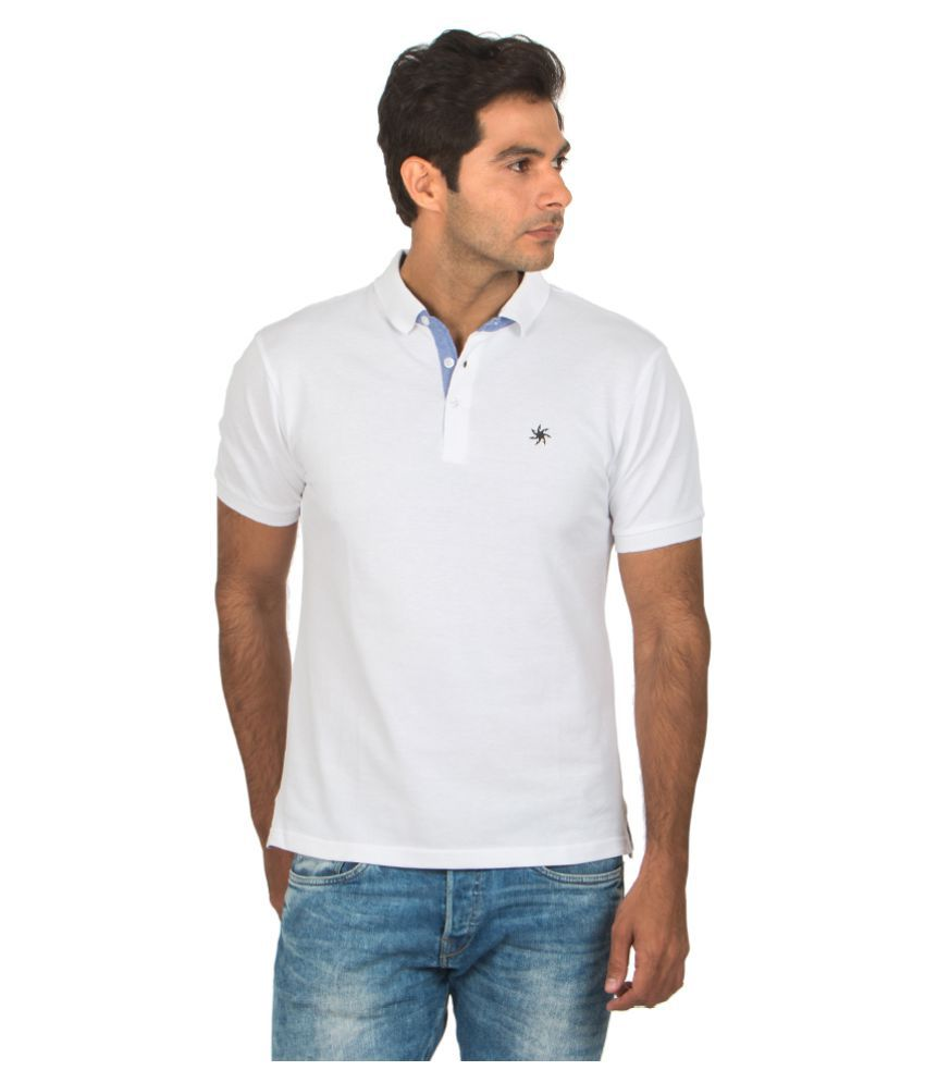 Zeven White Cotton Polo T-Shirt Single Pack