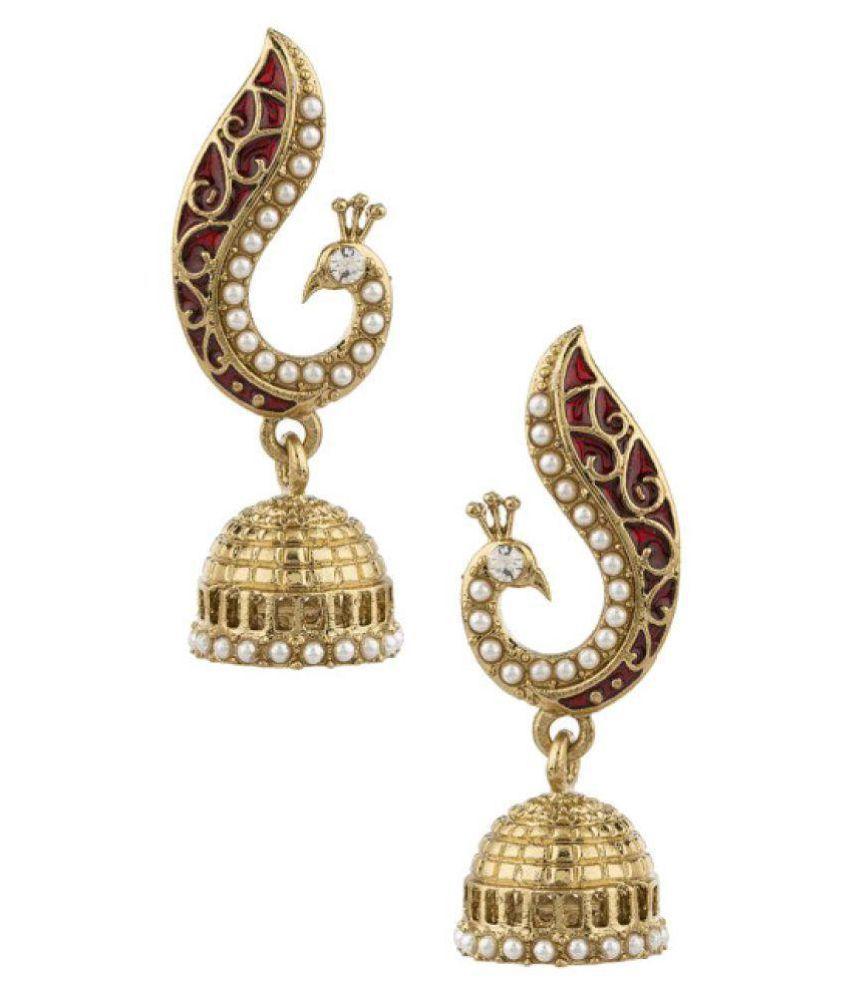 Jewels Gehna Golden Alloy Traditional Ethnic Jhumki Earring