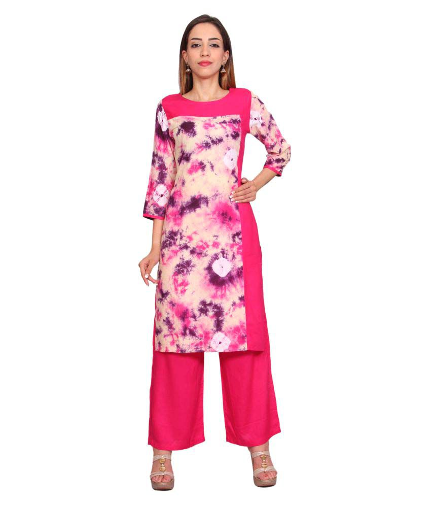 Rama Pink Rayon Straight Stitched Suit