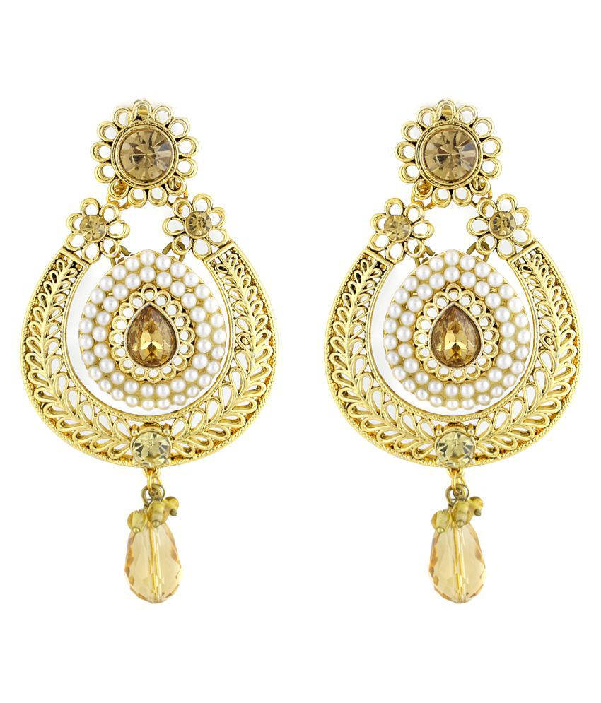 Sewad Artificial Gold Colored Hanging Earrings For Women