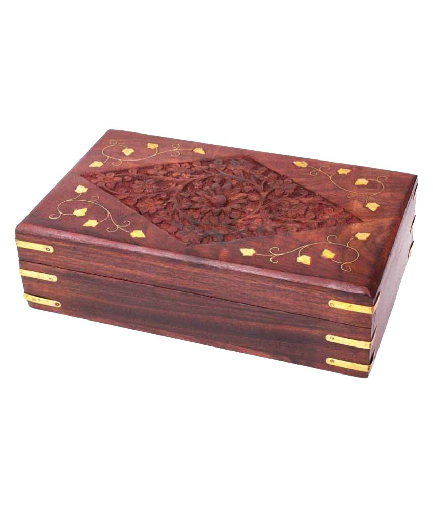 Finger's Classic Natural Wooden Keepsake Box Hand Carved Jewelry Organizer with Velvet Interiors
