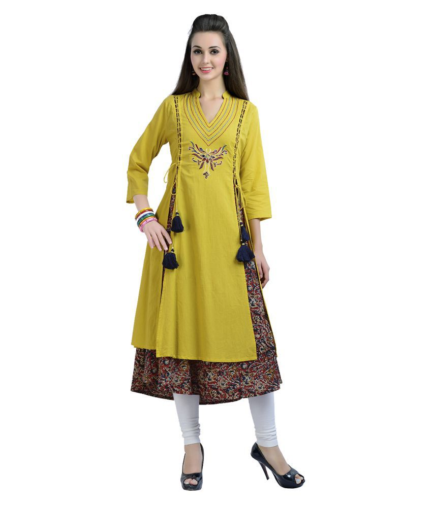 a3bc075a7d Zola Yellow Cotton Double Layered Kurti - Buy Zola Yellow Cotton Double  Layered Kurti Online at Best Prices in India on Snapdeal