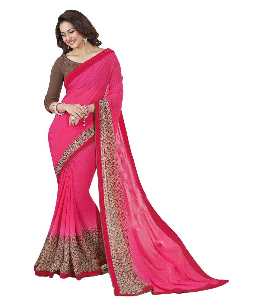 A and V Fashion Pink Georgette Saree