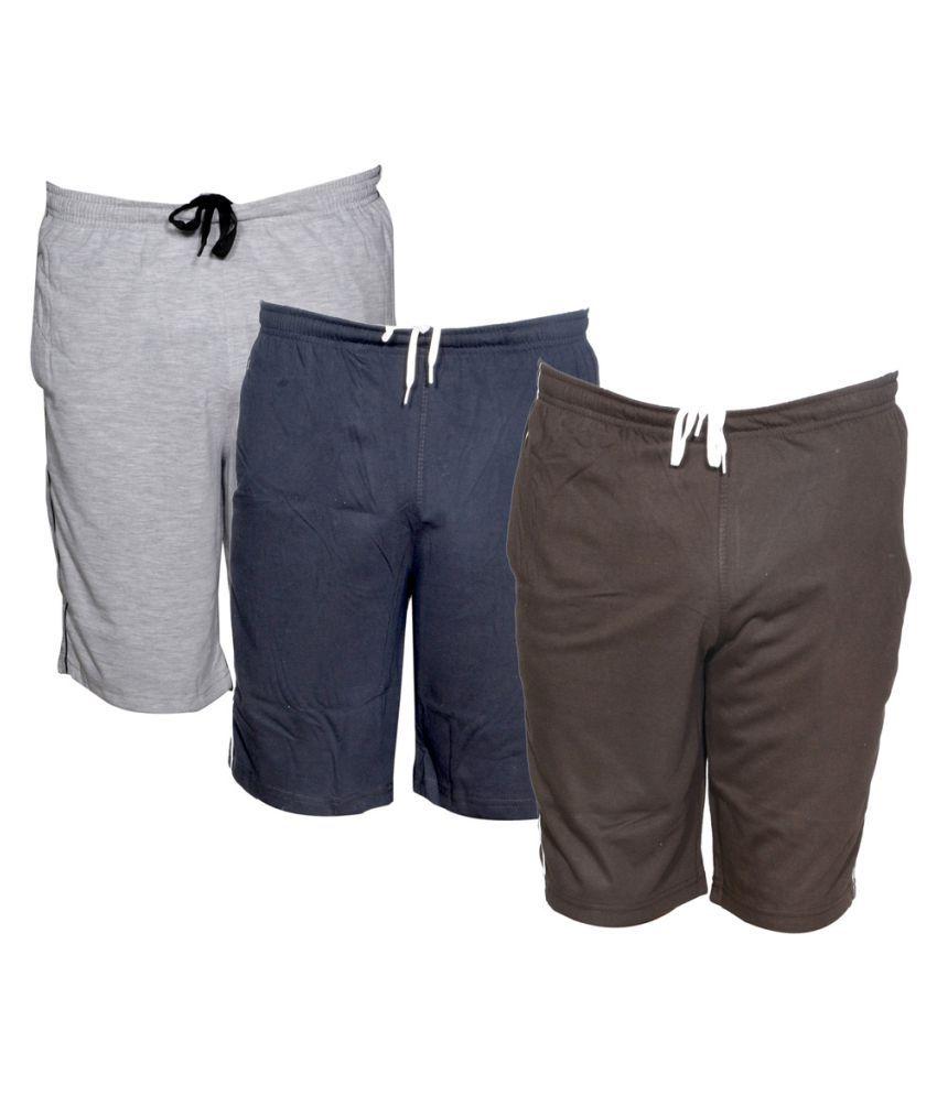IndiWeaves Multi Shorts Combo Pack of 3 Men Shorts