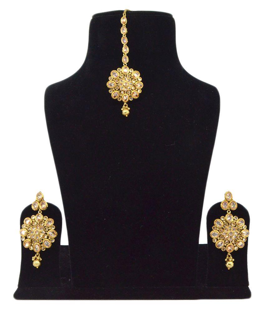 Saloni Fashion Jewellery Brass Golden Earring & Tika Set