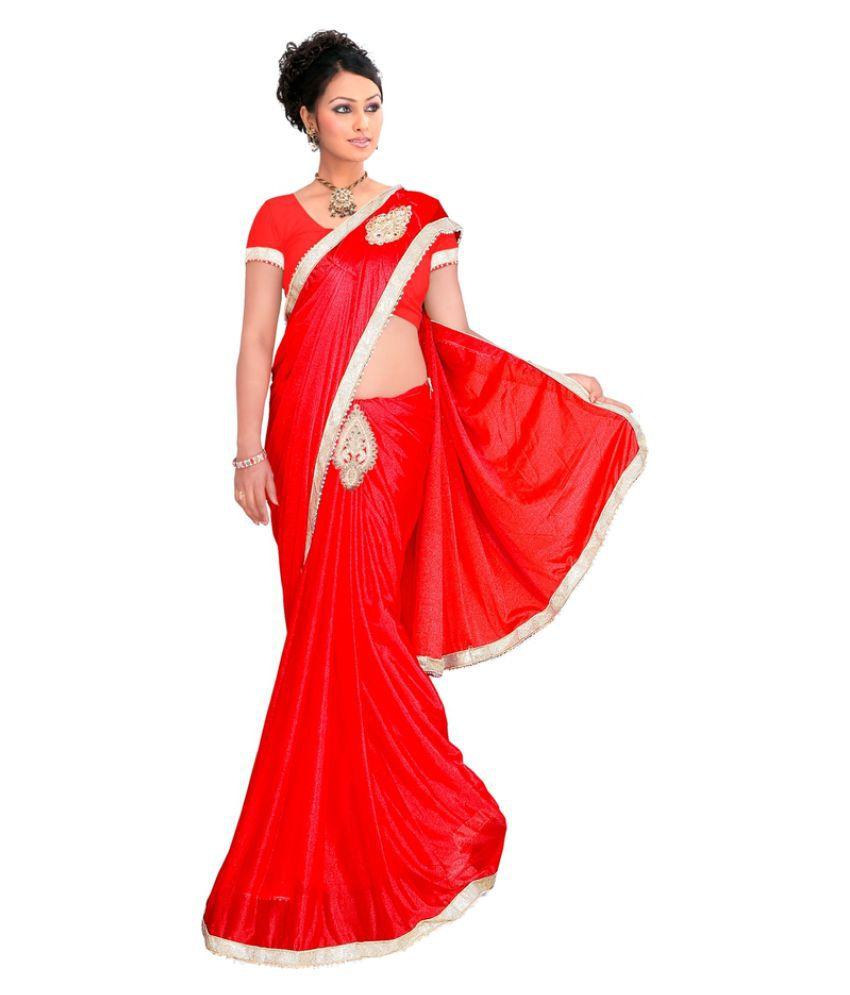 Shree Shyam Silk Red Lycra Saree