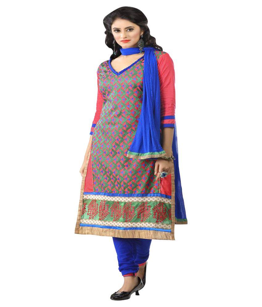 DnVeens Multicoloured Cotton Dress Material