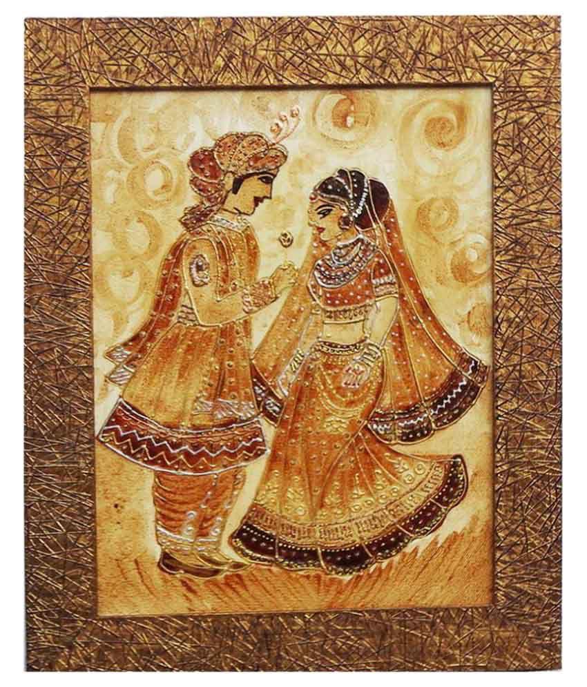 Handmade Coffee Painting (Jhodha Akbar) with Frame.