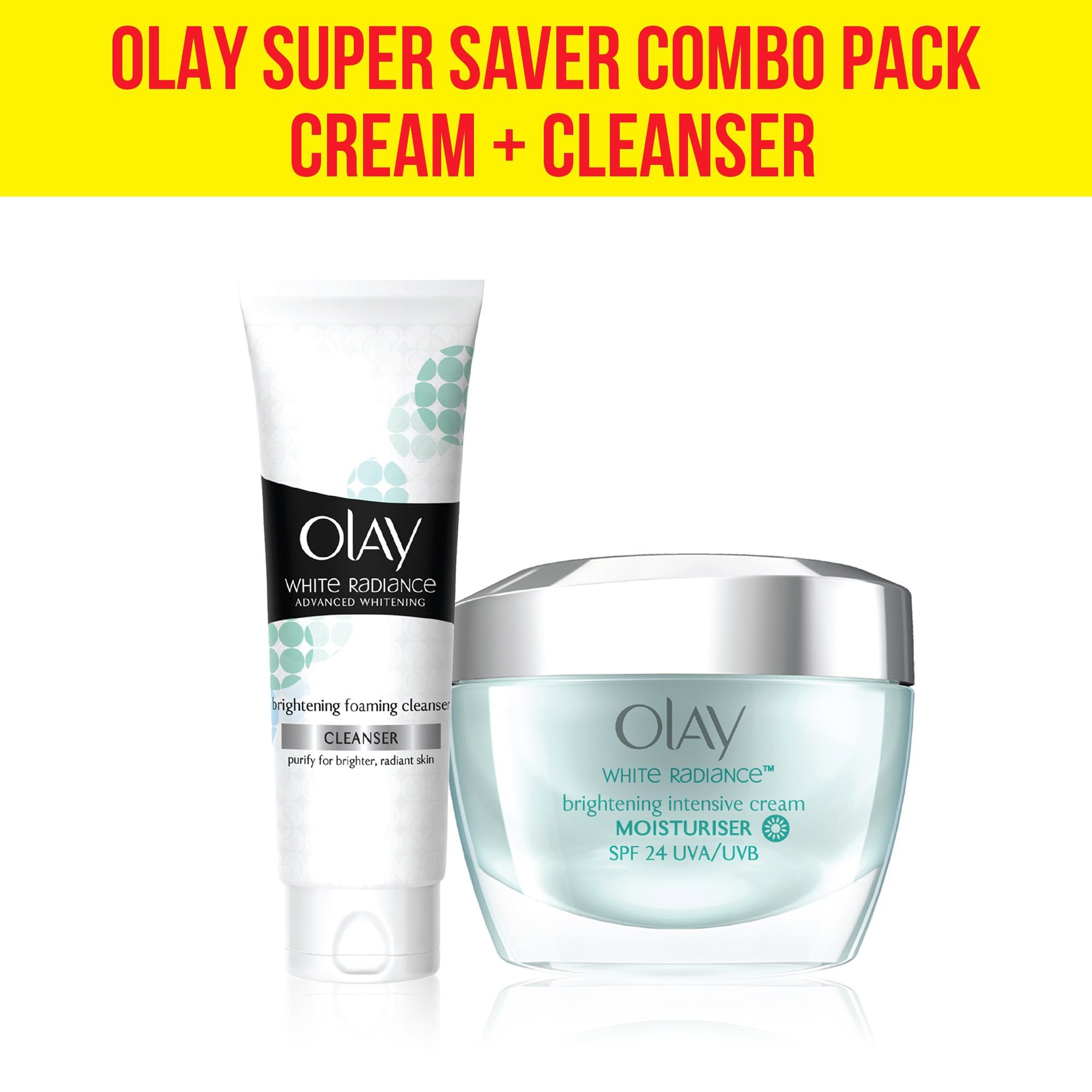 Olay White Radiance Advanced Whitening Fairness Protective Skin Cream 50g + Foaming Cleanser 100g Combo Pack: Buy Olay White Radiance Advanced Whitening ...