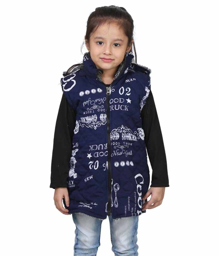 Crazeis Blue Nylon Half Sleeve Quilted & Bomber Jacket For Girls